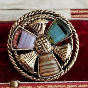 Vintage triple thistle Scottish brooch pin gold